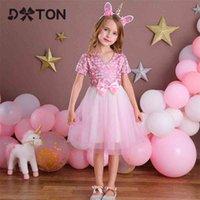 DTXTON Girls Princess Kleid Elegante Geburtstag Party Mädchen Kleid Nette Kinder Hochzeitskostüme V-Ausschnitt Kinder Tanz Sommer Mädchen Kleid 210402