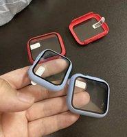 Moda Bumper Quadro PC Hard Case Com Botão de Filme de Vidro Temperado Buraco Provaproof para iWatch 5 4 3 2 1 Capa 360 Protetor de tela cheia