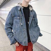 Men's Jackets Jaqueta jeans masculina com capuz, casaco preto casual de cowboy para homens da moda outono e inverno XDYB
