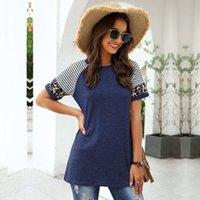 여성용 T 셔츠 2021 O-Neck 짧은 Streetwear 긴 패치 워크 정규제 면화 Msfilia