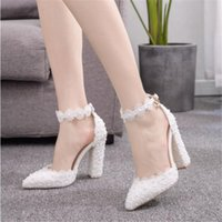 White Lace Wedding Shoes For Women Thick Flower High Heel Shoes For Women Bridal With Low Mouth Buckle Large Size 40 41 51iW#