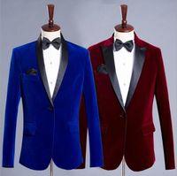 Men's Suits & Blazers Men Classic Velvet Blazer Formal Jacket Burgundy Royal Blue Wedding Groom Slim Fit Tuxedo Male Custom Casual