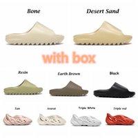 2021 Kanye Terlik Slayt Ayakkabı Moda Terlik Çöl Kum Kahverengi Yaz Platformu Sandale Kemik Beyaz Erkekler Terlik Kutusu Boyutu 35-47