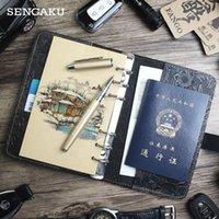 حاملي البطاقات 100٪ جلد طبيعي دفتر اليدوية خمر جلد البقر يوميات مجلة كراسة مخطط TN غطاء السفر