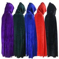 Kapüşonlu Cloak Uzun Kadife Pelerin Noel Cadılar Bayramı Cosplay Kostümleri Erkekler ve Bayanlar için