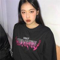 Апрель Momo летние женские футболки O шеи Harajuku Tee напечатанные буквы с коротким рукавом верхние дамы дна