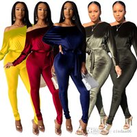 Sexy Jumpsuit Rompers Off Shoulder Women Fleece Clothing High Stretch Pants Full Length Sashes Fall Winter Casual Capris Long Sleeve