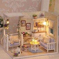 Cutebee DIY Muñeca Casa Muñeca de madera Casas de muñecas Miniatura Casa de muñecas con juguetes LED para niños Regalo de Navidad 201217