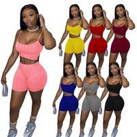 Venta caliente Venta de Mujeres Chándal Trajes Pantalones cortos Trajes Dos piezas Sets Sportswear Jogger Trajes 2021 Sexy Slim Sutpenders Tops Plus Tamaño Ropa