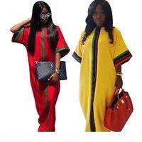 جديد عارضة التقليدية الأفريقي طويل فستان ماكسي الصيف الطباعة الرقمية نصف الأكمام رداء فساتين فضفاضة زائد حجم النساء الملابس S-2XL