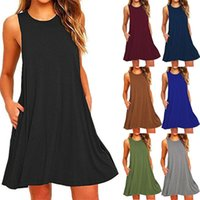 Casual Dresses 2021 Women's Summer Swing T-Shirt Beach Cover Up With Pockets Plus Size Loose Dress