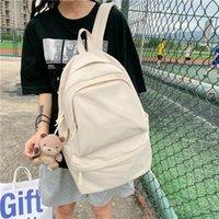 Backpack Candy Color Double Zipper Women High Quality Waterproof Nylon School Bag Big Student Cute Girl Travel Rucksacks