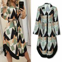 Casual Dresses Autumn Lady Women's Shirt Dress Wave Print Long Sleeve V-neck Loose Holiday Midi Plus Size