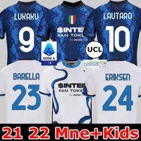 Inter Futbol Jersey Lukaku Milan Barella LAUTARO ERİKSEN VECINO 21 22 Futbol Gömlek 2021 2022 Üniforma Erkekler + Çocuk Kiti 4. Dördüncü KARAROV D'AMBROSIO SKRINIAR BROZOVIC