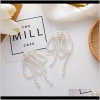 Jewelrykorean Elegant Imitation Pearl Long Tassel Earrings For Women Ladies Geometric Dangle Wedding Jewelry Gifts & Chandelier Drop Delivery