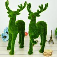 Creativo artificial césped césped pequeño lindo animales reno reno fake ciervos plástico musgo piedra decorativa mesa domiciliaria disposición