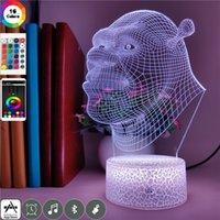 만화 LED 야간 조명 3D Shrek 환상 램프 균열베이스 원격 제어와 16 색 어린이를위한 침대 옆 밤 조명