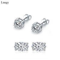 Pendientes de tachón de mujer redondo brillante 3-10 mm 925 Sterling Silver Lady Simuled Diamond Zircon 210628