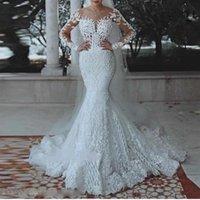 Elegant Muslim Lace Wedding Dresses 2020 New Full Sleeves Beaded Long Bridal Gowns Suadi Arabic Wedding Gowns Vestido De Noiva