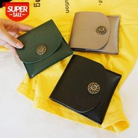 Japan and South Korea simple short wallet female European American retro buckle small flower purse card bag coin #Gq2q