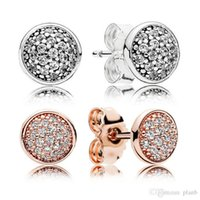 Authentic 925 Silver Stud Earring with Retail box 925 Silver Crystal CZ Pave Earrings Set for Women Mens Fashion Jewelry