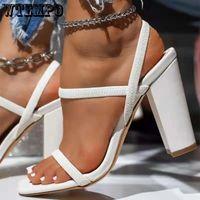 Сандалии WTEMPO 2021 Женские Насосы Летняя Мода Открытый Носок Высокие каблуки Обувь Женщины Узкая полоса Толстая 8см Партии