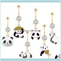 Другие ювелирные изделия из организма1PC милые панды свисающие кольца oreja 14g золотой цвет пупок 316L стальной пирсинг пирсинг рода ювелирных изделий Drop 2021 fkj08