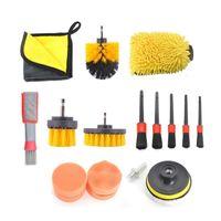 Car Sponge Novel-Car Cleaning Kit Scrubber Drill Brush Detailing Set Air Conditioner Vents Towel Washing Gloves Polisher Adapter