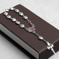 Bijoux faits à la main en gros Forme de la coquille Chapelet Bracelet Christ Catholique Alliage Croix Bracelet Perles de prière