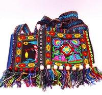 200 шт. Китайский Сумка Hmong Вышитая сумочка Этнические Стиль Сумки на плечевые Сумки с племенными кисточками