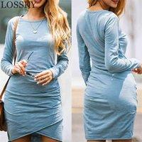 النساء الخريف الشتاء الملابس مصغرة اللباس ضئيلة مثير الأساسية طويلة الأكمام bodycon الصلبة تونك clubwear حزب ضمادة الزى 210507
