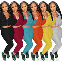 Women Tracksuits Two Piece Set Designer Harajuku Long Sleeve Hooded Slim Fit Short Jacket Bodycon Sweatpant Active Female Outfits 6 Colours
