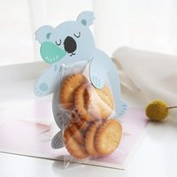 Gift Wrap 10pcs Koala Cartoon Self-supporting Bag Cookies And Cand Transparent Hand Basket Self-sealing Cake Pastry