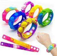 Empurre Poppers Bubble Silicone Bracelets Decompression Fidget Fi Dedo Brinquedos Bracelete Puzzle Press Stress Stress Tie-tingido Tie-tingido Anel de pressão G71Zowp