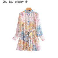 Vestidos casuales chu sau belleza moda blogger estilo gasa floral estampado mini vestido mujer vintage linterna manga arco faja de vacaciones