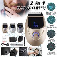 Clippers do włosów 2 w 1 Akumulator Golarka Eletric Clipper Nose Broda Trymer Maszyna do golenia Mężczyzn Mniejsza Pędzel do czyszczenia twarzy