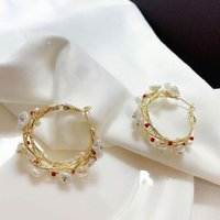 Hoop & Huggie Handmade Pearl Earrings For Women Vine Large Circle Light Luxury French 14K Gold Retro Hepburn Style Stud Earring