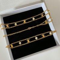 Jóias de moda de alta qualidade francês celi arco de dupla camada pérola colar bracelete ouro fresco estilo personalizado clavícula cadeia