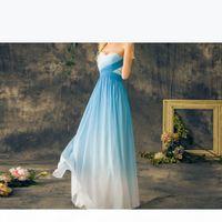 2019 Blue Ombre выпускные платья милая шифоновая шнурок на заднем платьях длиной длиной дол рождения градиентные вечеринки платья градуировки