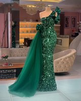 Long Sparkly Evening Dresses 2021 Mermaid One Shoulder Luxury Dark Green Sequined African Women Formal Party Gowns Peplum Ruffle Prom Dress