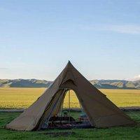 Tende e rifugi Asta Gear Gear Bushcraft Pyramid Tent Leggero 4-5 persone con gonna neve inverno stufa di legno 20D Nylon Camping Track 5