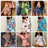 Frauen Jumpsuit Sexy Slim Bunte Muster Skinny Cartoon Gedruckt V-Neck Damen Mode Pyjama Onesies Nachtwäsche Spielanzug Strampler