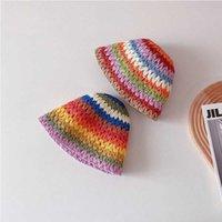 Retro Cute Children's Cap Rainbow Bucket Hat Kid Sun Protection Caps Girl Summer Boy Beach Foldable s Straw 210531