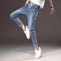 Jeans Women's Girls Fashion Trousers Black Elastic Waistband Woman Full Loose Denim Pants Boyfriends Cheap Wholesale