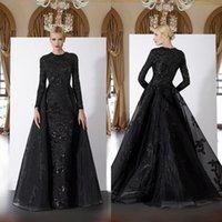 2020 Delicate Lace Mermaid Evening Dresses Arabic Dubai Muslim Long Sleeves Appliques Sequins Formal Gowns with Detachable Train Ldpjv