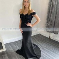 Party Dresses Black Mermaid Women's Evening 2021 Off The Shoulder Lace Top Satin Long Prom Dress With Beads Appliques Formal