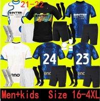حجم 16-4XL انتر لكرة القدم جيرسي Lukaku ميلان فيدال Barella Lautaro Eriksen Alexis 21 22 كرة القدم قميص 2021 2022 زي الرجال + أطفال كيت 4th الرابع