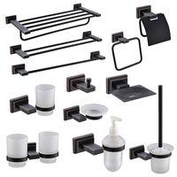 Black Bathroom Towel Rack Hanger Wall Mount Accessories Toilet Paper Holder Brush Soap Plate Glass Cup Set Bath Accessory