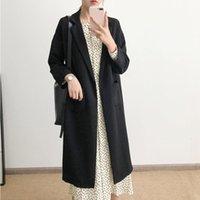 Women's Trench Coats [EWQ] Autumn Winter 2021 Women Long-length Coat Turm-down Collar Fashion Long Lapel Casual Plus Size Ladies Windbreaker