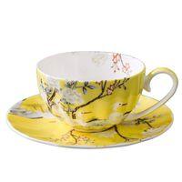 250ml Classical Coffee Cup Ceramic Bone China Cups With Saucer Set Office Afternoon Tea Mug Drinkware Teaware Beautiful Mugs
